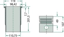 Pístní sada vhodná pro Case IH typy motoru D-155, D-206, D-310