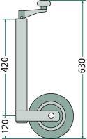 Opěrné kolečko k přívěsu nosnost 150 kg