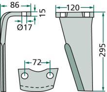 Hřeb do rotačních bran levý vhodný pro Niemeyer