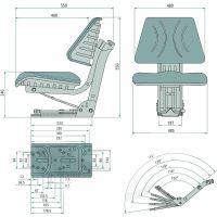 Sedačka Granit mechanicky odpružená včetně statického bezpečnostního pásu