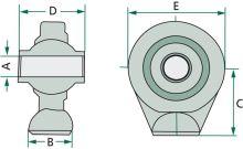 Kulový kloub třetího bodu kat. 1, šířka 62 mm