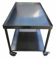 Sýrařský stůl  90 x 80 x 85 s odtokem, policí a pojezdem, nerez AiSi 304