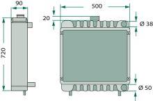 Chladič vhodný pro John Deere výška 720 mm šířka 500 mm
