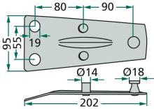 Držák nožů vhodný pro rotační sekačky Deutz-Fahr KM20, Pöttinger