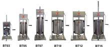 Vertikální plnička klobás Beeketal BT15 na 15 l s 5 nerezovými nástavci
