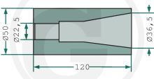 Přivařovací pouzdro na hroty na balíky 120 mm pro hroty se závitem M22