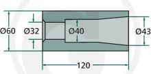 Přivařovací pouzdro na hroty na balíky 120 mm závit M28 vnitřní průměr 32 mm