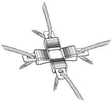 Křížová spojka na vodivé provázky do 3 mm Litzclip 5 ks