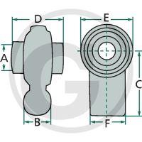 Kulový kloub pro spodní závěs třetího bodu kat. 2, šířka 76 mm
