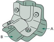 Stájová trubková rohová spona dvoudílná se 4 šrouby