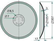 Válcový kotouč, disk pro CX secí botku vhodný pro Accord