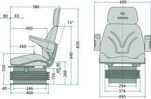 Traktorová sedačka Granit Komfort vzduchové odpružení 12 V s otočnou deskou