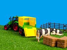 Kids Globe - farmářský set, traktor s přívesem a kravami, měřítko 1:32