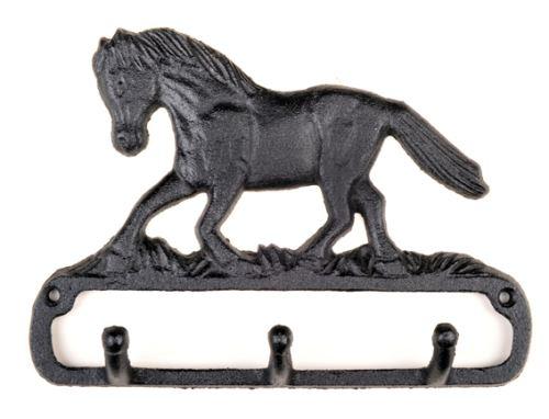Věšák na oblečení HKM litinový černý motiv kůň