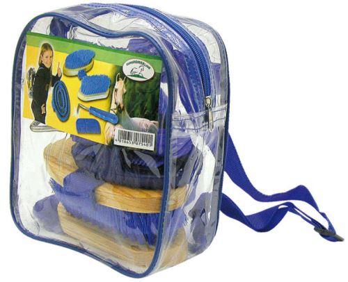 Sada na čištění koní v průhledném batohu pro malé jezdce