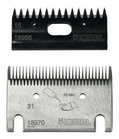Sada nožů 15/31 zubů k profesionálnímu stříhacímu strojku pro koně a skot Constanta 3 a 4