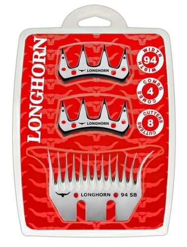 Farmářská sada širokých nožů Longhorn SB 35/94 mm na stříhání ovcí 4 spodní + 8 horních