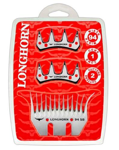Farmářská sada širokých nožů Longhorn 94 mm na stříhání ovcí 1 spodní + 2 horní nože