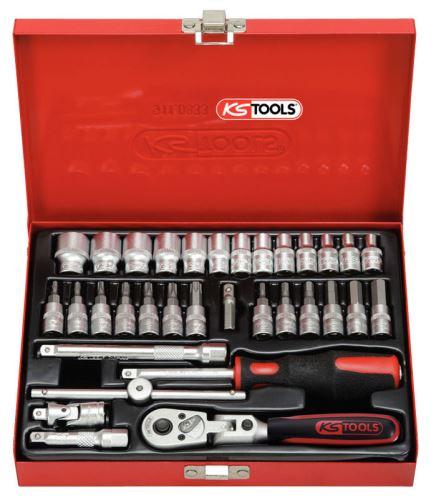 Sada nástrčných klíčů KS Tools 33-dílná v kovovém kufříku