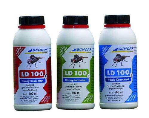 LD 100 G tekutý koncentrát k hubení much ve stáji 500 ml, účinná látka Permethrin 9, 9%