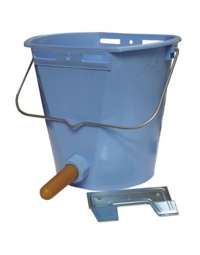 Napájecí vědro TETI Blue pro telata komplet s ventilem, cucákem a kovovým držákem