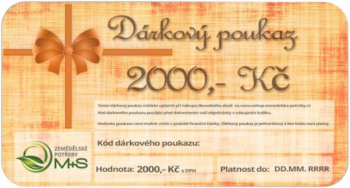 Dárkový poukaz v hodnotě 2000 Kč na nákup veškerého zboží z našeho eshopu