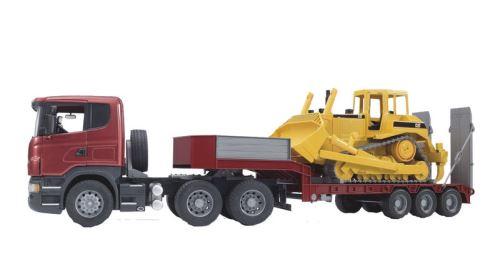 Bruder - tahač Scania R  s podvalníkem a Caterpillar budozerem