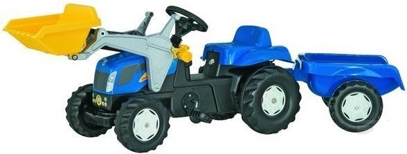 Rolly Toys - šlapací traktor New Holland TVT 190 s přívěsem a čelním nakladačem Rolly Kid