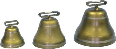 Pastevní zvonec ocelový v barvě bronzové průměr 145 mm