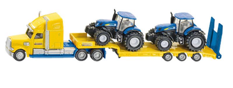 Siku - kamion se dvěma traktory New Holland žlutomodrý 1:87