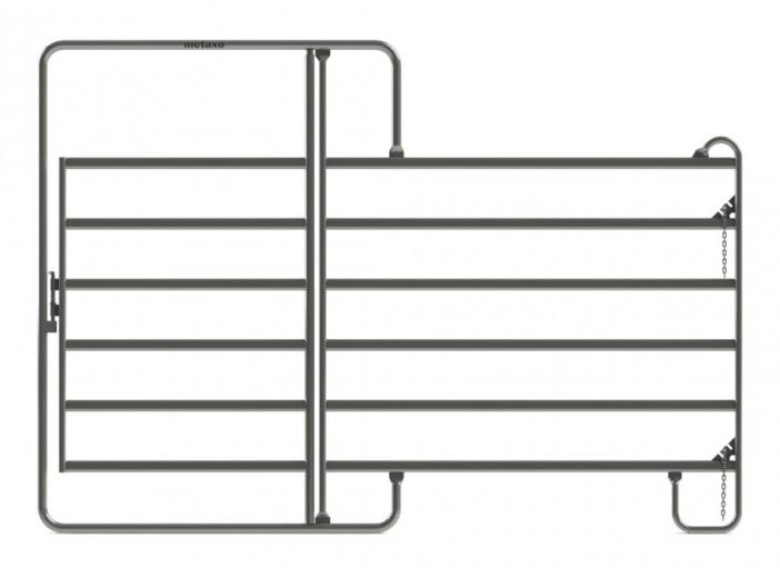 Ohradní panel Texas s dveřmi 3 x 2,1 m pro koně a skot