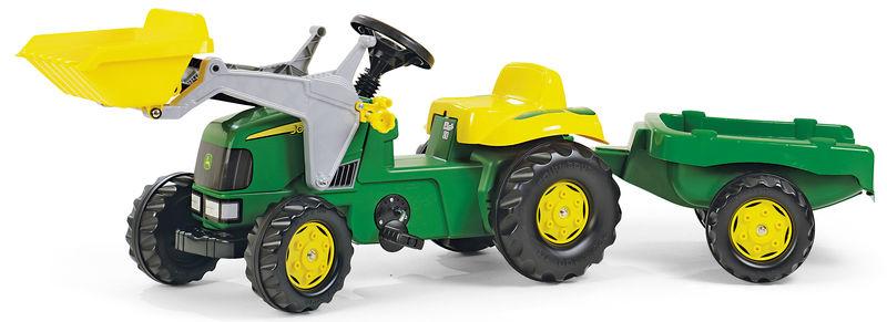 Rolly Toys - šlapací traktor John Deere s přívěsem a čelním nakladačem Rolly Kid