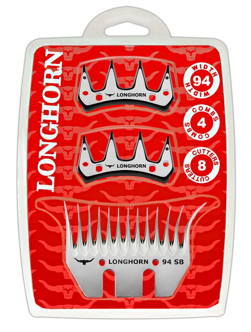 Farmářská sada širokých nožů Longhorn 94 mm na stříhání ovcí 4 spodní + 8 horních nožů