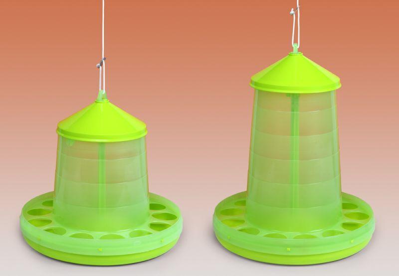 Závěsná krmítka plastová Gaun pro drůbež na 2, 4, 8, 12 a 16 kg průhledná citrónově zelená
