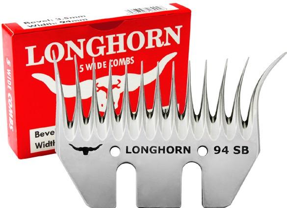 Spodní široký nůž Longhorn 97 mm krátký úkos 3,5 mm na stříhání ovcí pro levoruké střihače