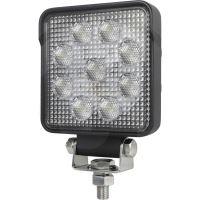 LED pracovní světlomet hranatý 9 High Performance LEDs  12V a 24V