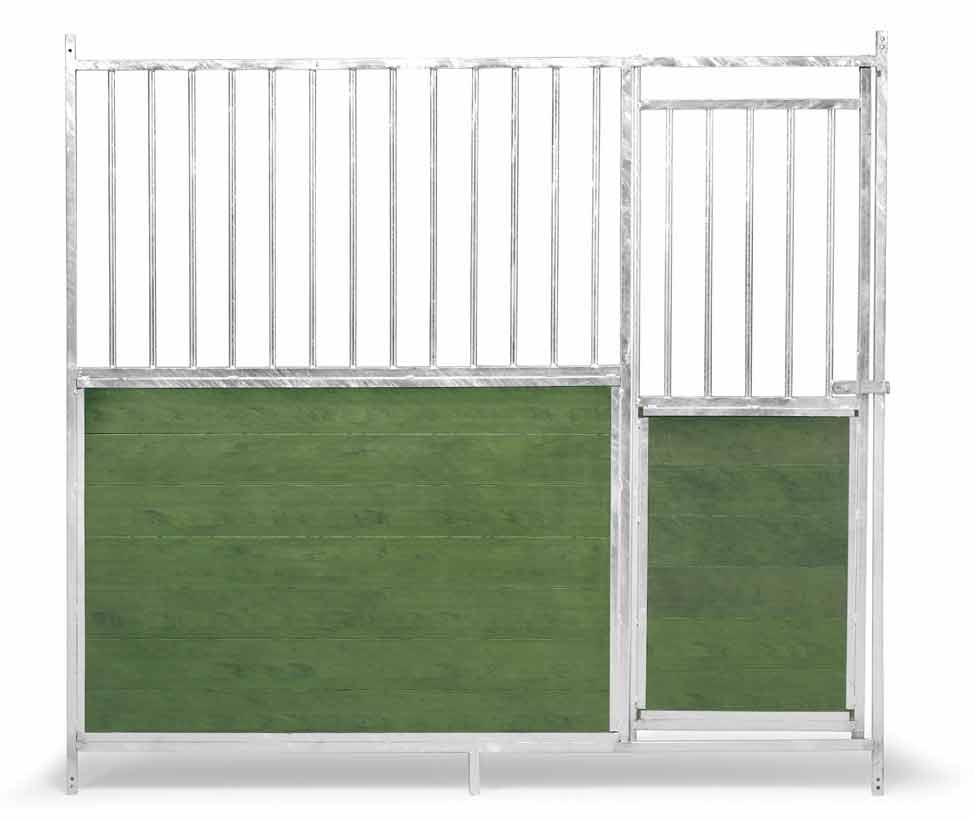 Přední stěna venkovního boxu 2 x 1,85 m pro psy kombinace tyčoviny a PVC s dvířky