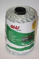 Zeleno-bílý provázek Olli BASIC Line 2 mm/250 m pro elektrický ohradník