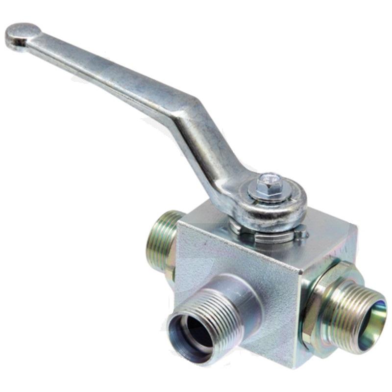 Hydraulický kulový kohout s L-vývrtem pro trubku BKH-3L-15L DN13 M22 x 1,5