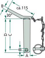 Kolík kat. 1 pro spodní závěs třetího bodu s řetězem a závlačkou délka 151 mm