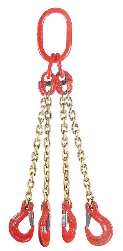 Jeřábový řetěz G8 čtyřpramenný síla 13 mm délka 1 m s okem a háky