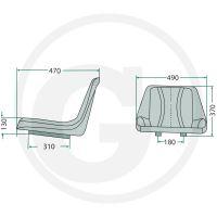 Sedačka Granit neodpružená s podélným nastavením pro vysokozdvižné vozíky