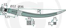 Hrot pro drapákové vidle 600 mm zahnutý vysoké zatížení závit M20 x 1,5 pro Kverneland