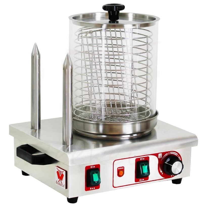 Párkovač hot dog, ohřívač párků v rohlíku, ohřívač hot-dogů dvoutrnový Beeketal BHG06c