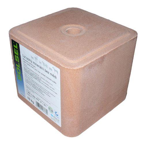 Solný minerální liz Solsel bez mědi pro ovce, kozy, koně, dobytek a zvěř 10 kg