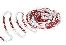Plastový řetěz červenobílý průměr 6 mm balení 50 m bezpečnostní signální výstražný
