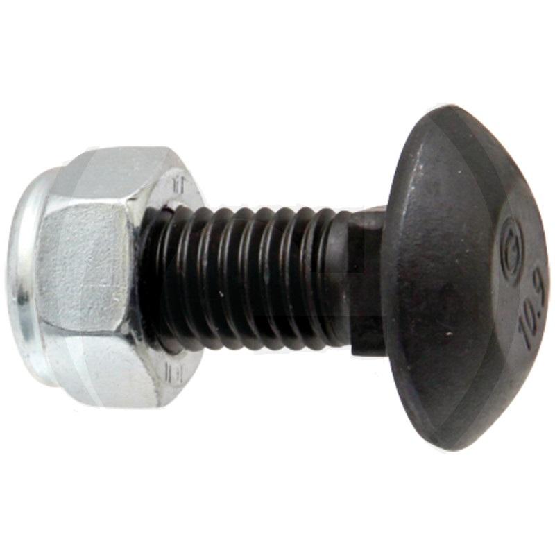 Vratový šroub s maticí M12 x 30 jakost 10.9 pro těžké kultivátory BBG, Brix, Lemken
