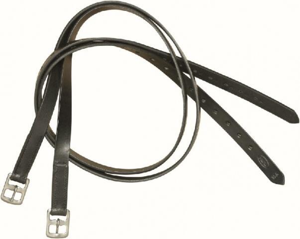 Třmenové řemeny KenTaur na koně kožené řezané, pár, černé, délka 160 cm