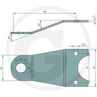Držák nožů vhodný pro sekačky Pöttinger Novacat 225H, 265H, 266F, 305H, 350H