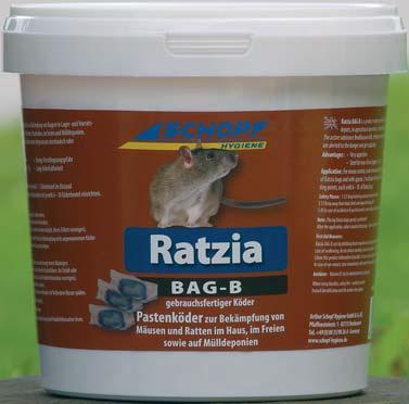 Ratzia modrá pasta 1000 g jed, gel na hubení myší, krys, potkanů, hrabošů